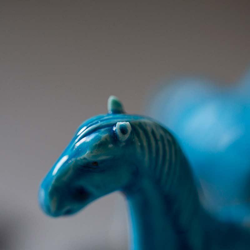 Antique Blue Horse Teapets