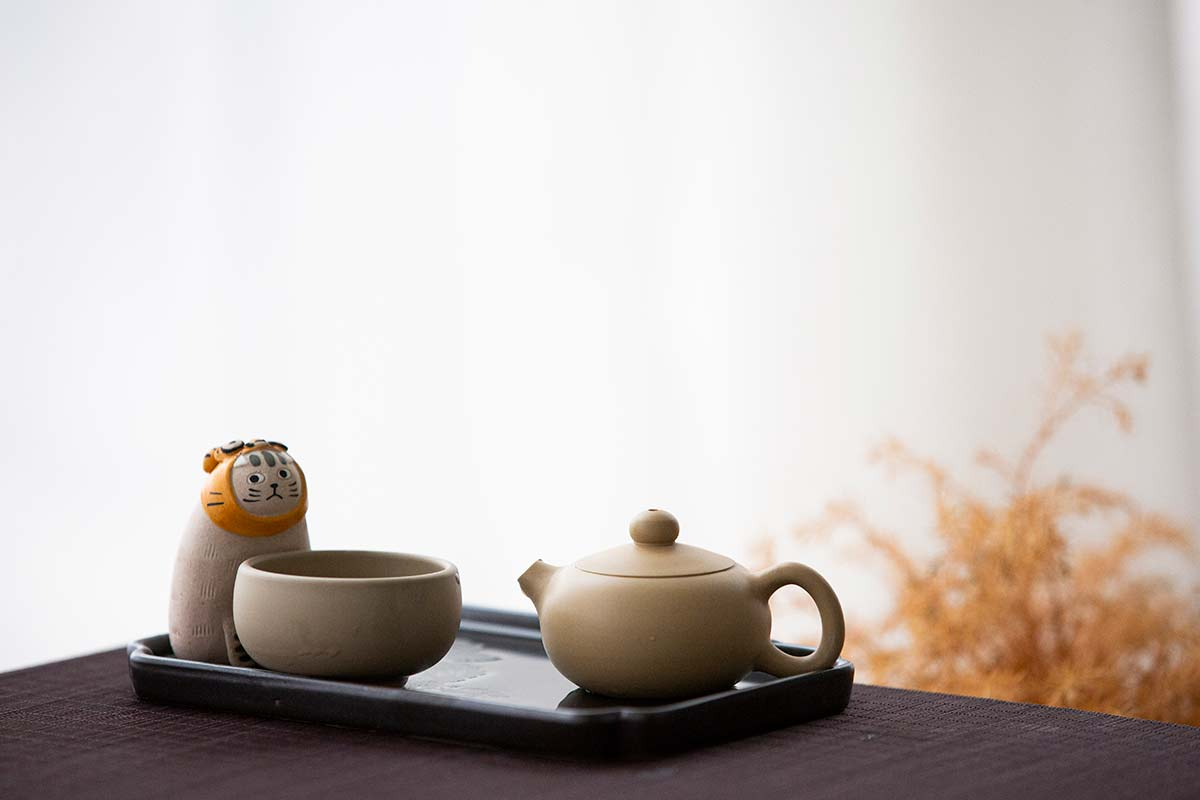 Jianshui Zitao Purple Clay Mini Teapot – White