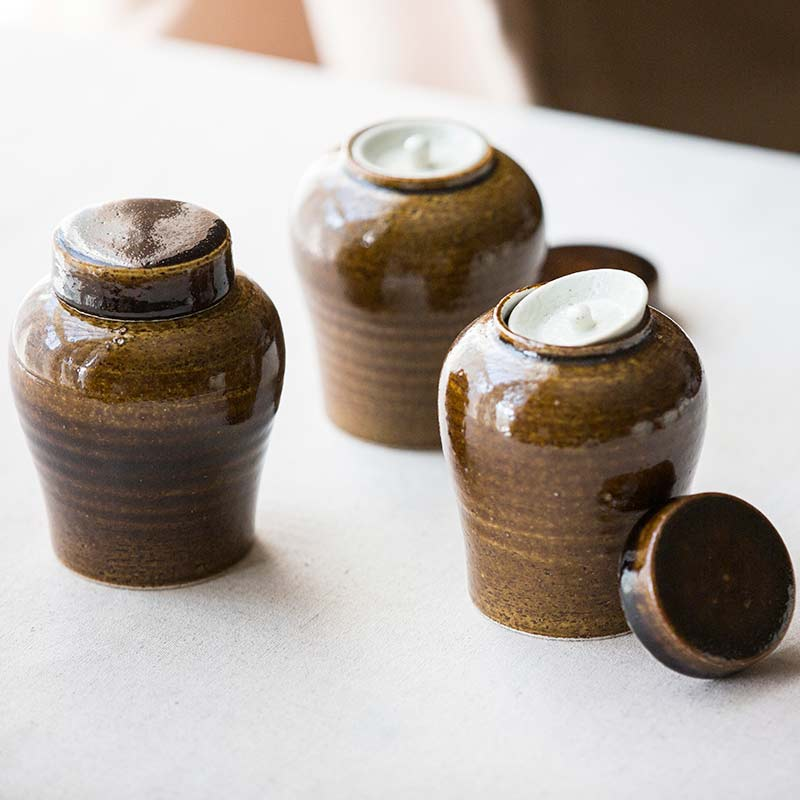 Brown Double Lid Tea Jar