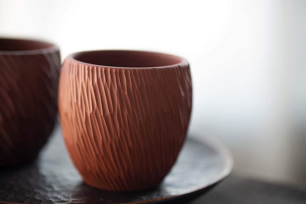 Red Sculpted Jianshui Zitao Purple Clay Teacup