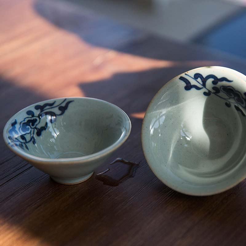 Handpainted Qinghua Teacups