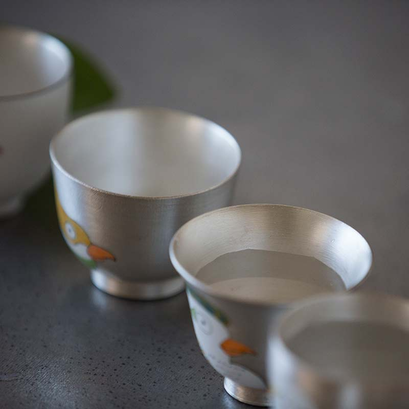 Of a Feather Silver Glazed Teacups