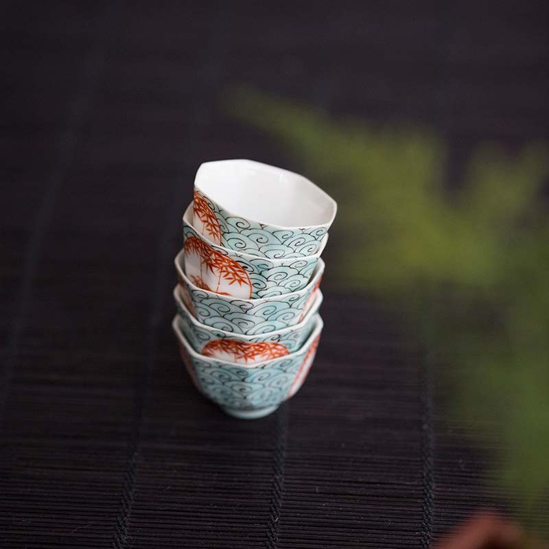 Red Bamboo Hand Painted Teacup