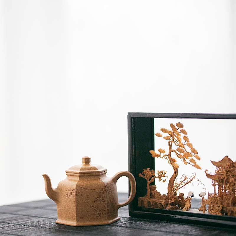 Liujiao Huangjin Duanni Yixing Teapot 125ml Mountain