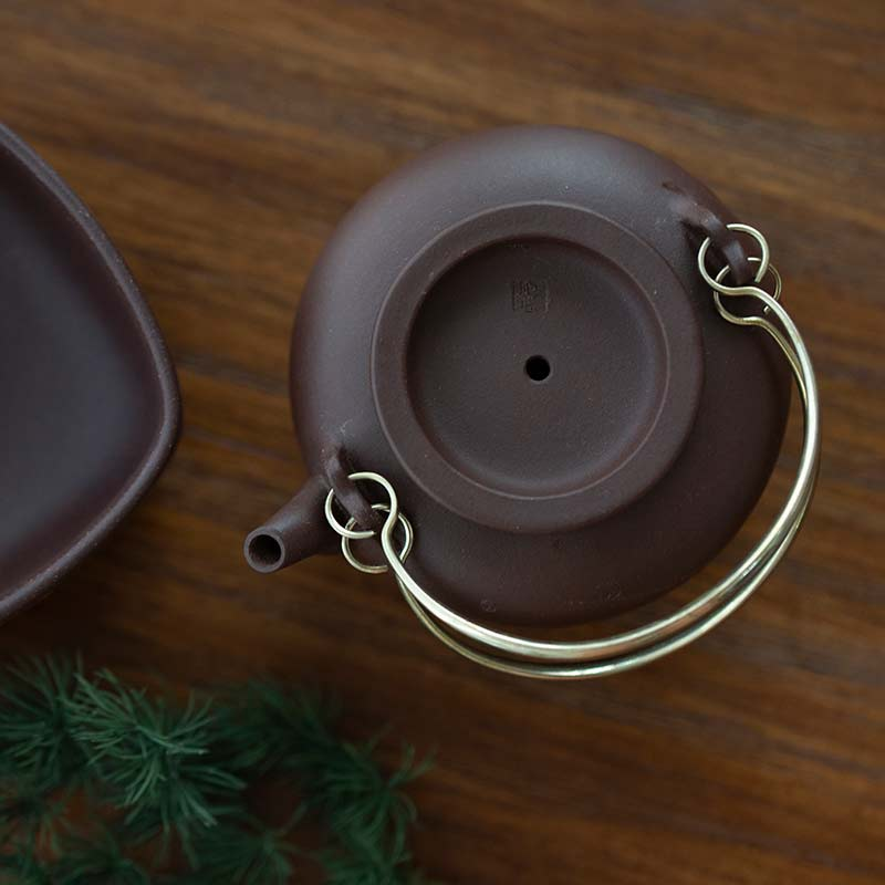 Plum & Brass Yixing Zini Clay Teapot