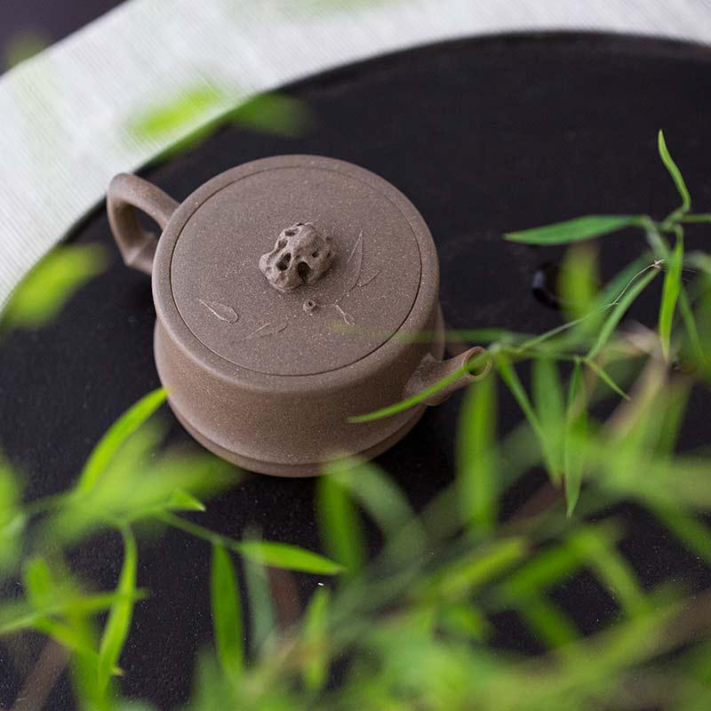 Zhuying Bamboo Yixing Duanni Clay Teapot