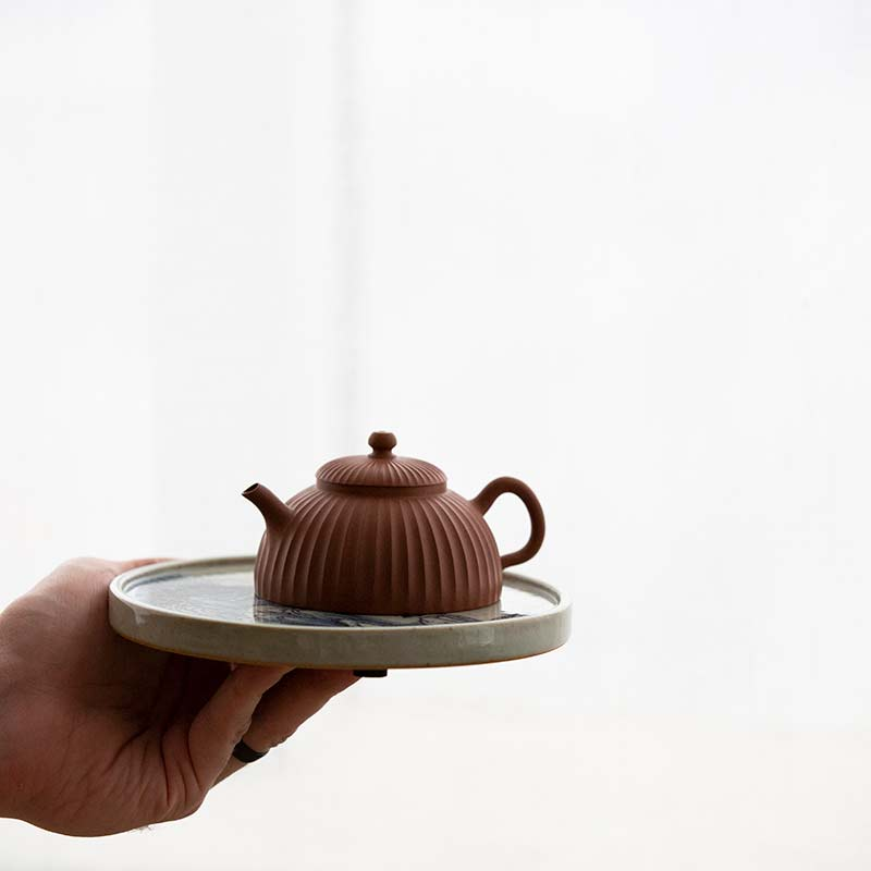 Half Moon Sculpted Yixing Jiangponi Teapot
