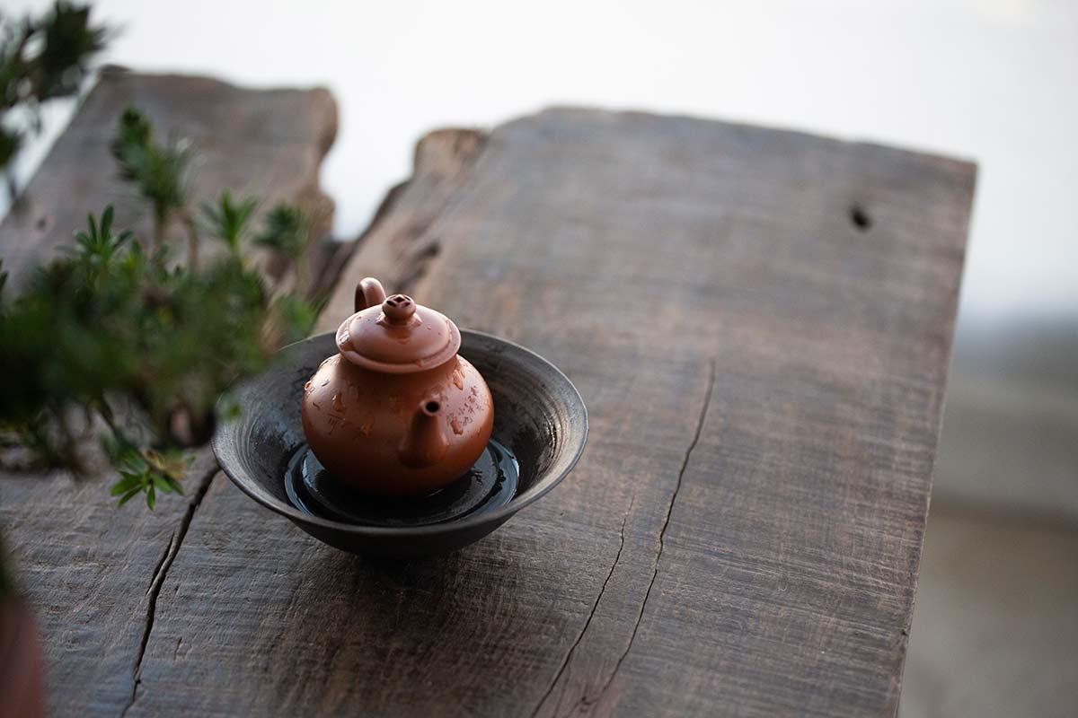 Junting Engraved Yixing Zhuni Clay Teapot