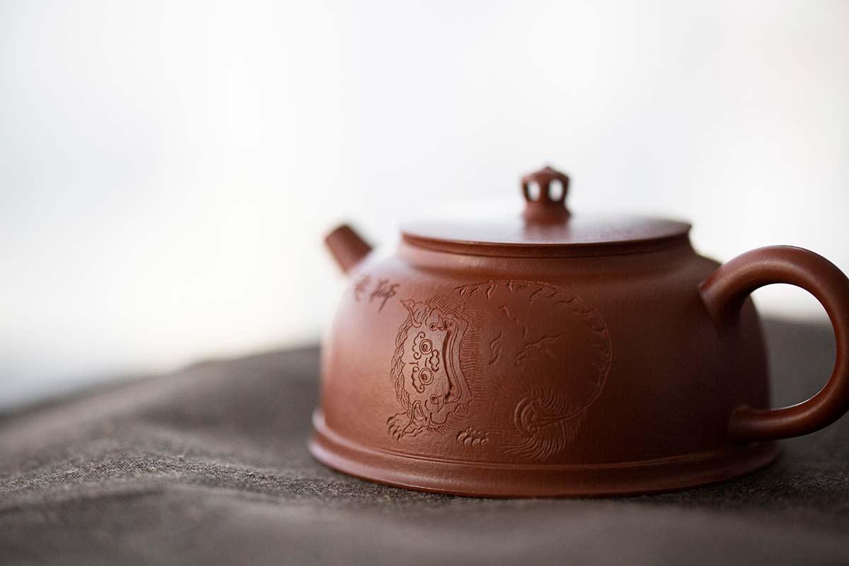 Shiqiu Engraved Yixing Zhuni Clay Teapot